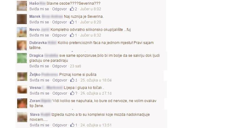 Komentari upućeni javnim osobama na 'hrvatskom' dijelu Facebooka